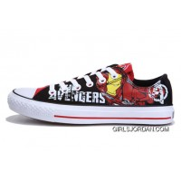 Iron Man CONVERSE Printed The Avengers Comics Black Red Shoes Free Shipping