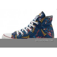 CONVERSE Superman Comics Heros Printed Blue Canvas Sneakers Authentic