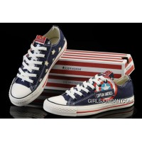 Blue Captain America CONVERSE Tops Canvas Shoes New Release