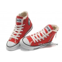 Red CONVERSE Winter Chuck Taylor All Star Soft Nap Shearling Inside Zipper Canvas Sneakers Best