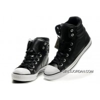 New Embroidery Black Leather CONVERSE Padded Collar Chuck Taylor All Star Winter Boots Lastest