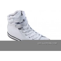 White Embroidery CONVERSE Padded Collar Chuck Taylor All Star Double Buckles Velcro Leather Winter Boots Authentic