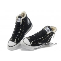 CONVERSE Winter Chuck Taylor All Star Soft Nap Inside Zipper Black Canvas Sneakers Copuon Code
