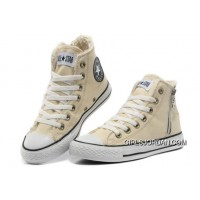 CONVERSE Winter Chuck Taylor All Star Beige Soft Nap Shearling Inside Zipper Canvas Sneakers Free Shipping