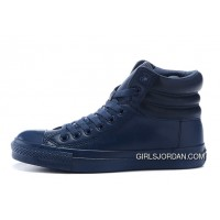 Monochrome Blue High CONVERSE Embroidery Leather Padded Collar Winter Copuon Code