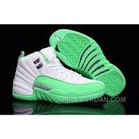 2017 Girls Air Jordan 12 White Green For Sale Lastest