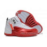 Girls Air Jordan 12 White Cherry Red For Sale Christmas Deals