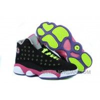Girls Air Jordan 13 Black-Pink/Venom Green For Sale Cheap To Buy