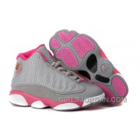 Girls Air Jordan 13 Gray Pink White For Sale Top Deals