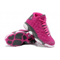 Girls Air Jordan 13 Suede Pink Gray For Sale Free Shipping