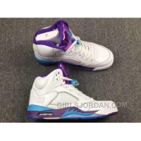 "2017 Air Jordan 5 ""Hornets"" White Blue Purple Free Shipping"