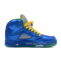 "Air Jordan 5 ""Easter"" Metallic Blue-Yellow/Pine Green For Sale Super Deals"