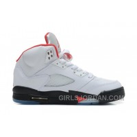 Air Jordan 5 White/Black-Fire Red For Sale Free Shipping