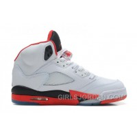 Air Jordan 5 White/Fire Red-Black For Sale Top Deals