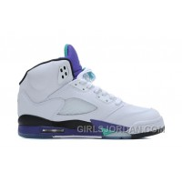 Air Jordan 5 White/New Emerald-Grape-Ice Blue For Sale Super Deals