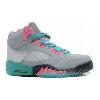 "Girls Air Jordan 5 ""Miami Vice"" Grey/Teal-Pink For Sale Cheap To Buy"