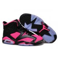 2017 Girls Air Jordan 6 Black Pink Shoes For Sale Online