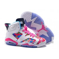 2017 Girls Air Jordan 6 Pink White Floral Print Shoes For Sale Discount
