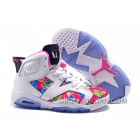2017 Girls Air Jordan 6 White Pink Floral Print Shoes For Sale Super Deals