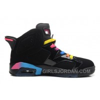 Air Jordan 6 Black/Pink Flash-Marina Blue For Sale Free Shipping
