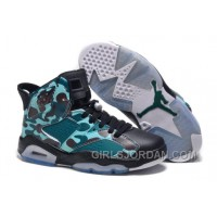 "Girls Air Jordan 6 ""Camo"" Black Teal For Sale Free Shipping"