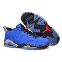 "Girls Air Jordan 6 Low ""Eminem"" Blue Black/Grey For Sale Lastest"