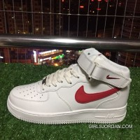 Super Deals Nike Air Force 1 Af1 07 One White Red Mid Top Sneakers. 315123-126