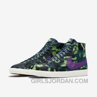 NIKE BLAZER MID JACQUARD 2017 Spring New 807382-200 Women Black Purple Free Shipping
