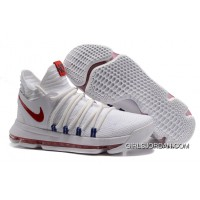 Nike KD 10 White Red Men Shoes Kevin Durant Free Shipping