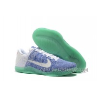 Kobe 11 Low Elite White/Blue-Mint Mens Basketball Shoes Christmas Deals
