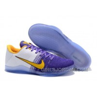 Nike Kobe 11 White Purple Yellow PE Mens Basketball Shoes Free Shipping