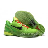Nike Zoom Kobe 6 Grinch Christmas Green Mamba Basketball Shoes Authentic