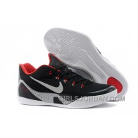 Nike Kobe 9 EM Black/White-Laser Crimson-Wolf Grey Mens Basketball Shoes Discount