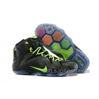 Nike LeBron 12 Black-Volt Mens Basketball Shoes Christmas Deals