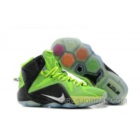 Nike LeBron 12 Neon Green/Black-Silver Mens Basketball Shoes Lastest