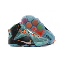 Nike LeBron 12 Teal/Orange-Black Mens Basketball Shoes Lastest