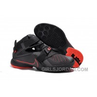 Nike LeBron Soldier 9 Black And Red Highlights Mens Basketball Shoes Christmas Deals