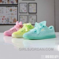 New Style Puma BASKET 363073 Bow Tie Jelly Summer Mint Yellow Pink