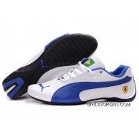 Mens Puma Future Cat Brazil Edition In White/Blue Free Shipping