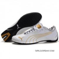 Men's Puma 10th Anniversary Metal Racing Shoes White Golden New Style