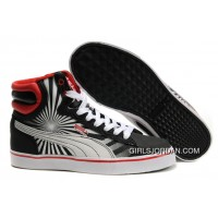 Mens Puma First Round In Black-White-Red New Style