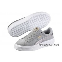 PUMA Suede Platform 2 Mens Womens Grey White Cheap To Buy