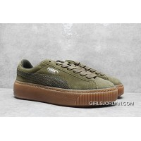 Top Deals Rihanna Puma Suede Platform Core Sneakers Full Grain Leather Lining He Green 35.5-40