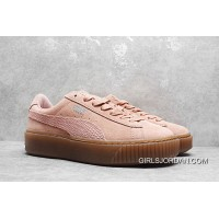 Copuon Code Rihanna Puma Suede Platform Core Sneakers Full Grain Leather Lining Pink 35.5-40
