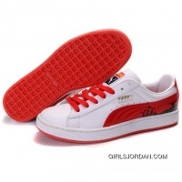 Puma Suede Fat Lace In White-Varsity Red Discount