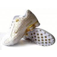 Men's Nike Shox Monster Shoes White/Gold Free Shipping
