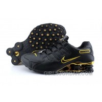 Men's Nike Shox NZ Shoes Black/Gold Lastest