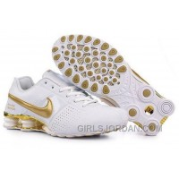 Men's Nike Shox OZ Shoes White/Gold Online
