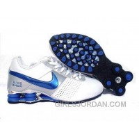 Men's Nike Shox OZ Shoes White/Silver/Blue Free Shipping