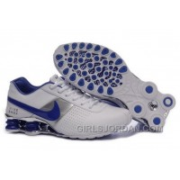Men's Nike Shox OZ Shoes White/Silver/Dark Blue Online
